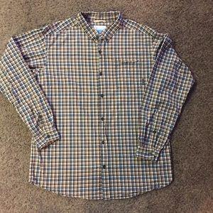 Columbia Brown Plaid Long Sleeve Shirt Sz XL